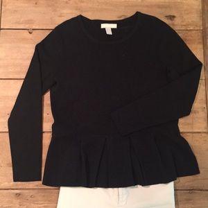 Banana Republic Peplum Cotton Sweater, blk lrg